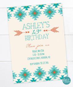Tribal Aztec Birthday Invitation Printable Boho Bohemiam Sweet 16 Teen Tween