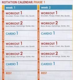Jillian Michaels: Body Revolution: Phase 1 Schedule/Rotation Calendar (Weeks 1 & 2)