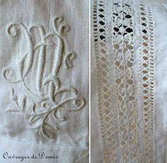 363297d8bc0a bonnet monogramme jours Broderie Blanche, Dentelle, Richelieu, Monogramme,  Fuseaux, Aiguille,