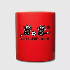 Ich liebe dich Soccer Mug I Love you Cats Cat Gift - Full Color Mug