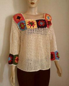 Crochet blouse Squares vintage | Etsy