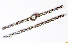 Watch and Bracelet Set Vermeil Light Green Moonstones By Gramercy Vintage Jewelry Jewellery Accessory Gift Guide Women Art Deco Preppy
