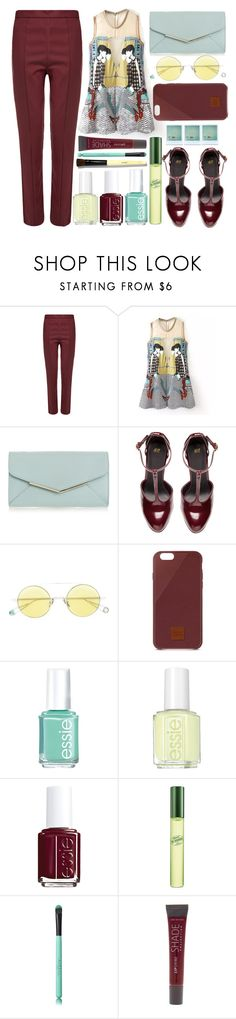 """""""portrait vest"""" by juliehalloran ❤ liked on Polyvore featuring Wood Wood, Furla, H&M, Ahlem, Native Union, Essie, DKNY, Lane Bryant and Bobbi Brown Cosmetics"""