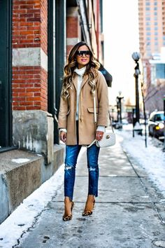 JANUARY 19TH, 2017 BY MARIA RE-WEARING WARDROBE CLASSICS - Topshop Camel Coat // Nordstrom White Turtleneck // BlankNYC Jeans // Gucci Marmont Bag // Celine Sunglasses // Kurt Geiger Leopard Heels