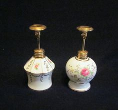 Vintage Lady Fair Perfume Bottle Set 2 Porcelain Hand Painted Atomizer Perfume Bottles