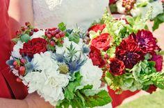 subtle red-white-blue bouquets