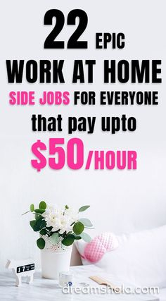 Read about 22 genuine work from home jobs & side gigs that will help you to make money from home in Find the best jobs and start working today! Online Jobs From Home, Home Jobs, Jobs Uk, Online Work, Work From Home Opportunities, Work From Home Tips, Earn Money From Home, Earn Money Online, Earning Money