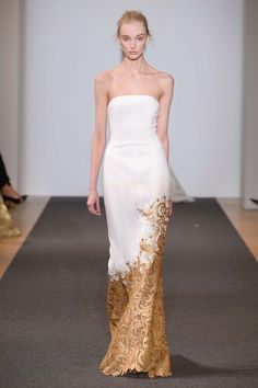 DANY ATRACHE - Spring Summer 2016-Paris Fashion Week-Couture Long Dress-Gold embroidered
