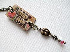Peach Bead Necklace Beaded Jewelry Mixed Media by LittleBitsOFaith