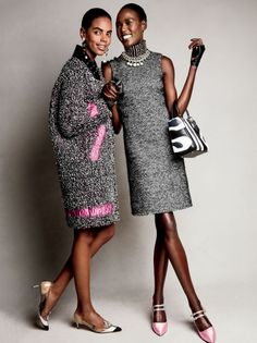 Not Your Granny's Tweed: Grace Mahary and Ajak Deng for Glamour Magazine September Photography by Patrick Demarchelier Fashion Editor: Jillian Davison Fashion 2020, Look Fashion, Fashion Details, Fashion Models, Fashion Outfits, Womens Fashion, Fashion Design, Patrick Demarchelier, Fashion Editor