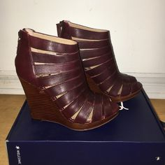 Wine cut-out caged wedge booties. Killer wine colored wedges.  4 inch wedge with 3/4 inch platform. Super comfy. The design holds your foot in well so they are easy to walk in and manageable for all day! Worn once for a quick model shoot. Basically brand new. Fits 6.5/7. Come with box. Splendid Shoes Wedges