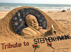 """""""The greatest enemy of knowledge is not ignorance, it is the illusion of knowledge."""" Indian Sand artist Sudarsan Patnaik gives final touches to a sculpture in honour of British physicist and award-winning author Stephen Hawking at Puri beach in Odisha . Funny Photos Of People, Funny Pictures, King Of The Hill, Faith In Humanity Restored, Sand Art, Stephen Hawking, Art Forms, Amazing Art, Pop Culture"""