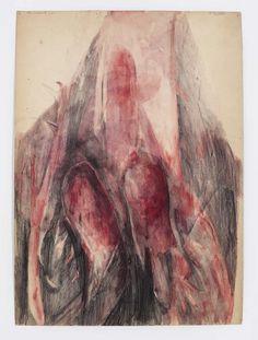 """Belinde de Bruyckere """"The Wound"""" (2011) Acuarela y lápiz sobre papel. Medidas: 7 1/2 x 12 5/8"""