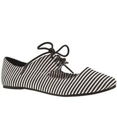 Women's Black & White schuh Cherie Lace Up Pump Stripes at schuh