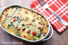 This egg, sausage and cheese bake is a complete meal. It has meat, eggs and vegetables. It's delicious and very filling.