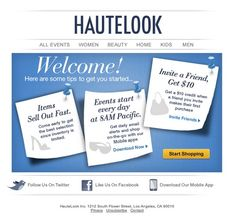 Welcome email from Hautelook