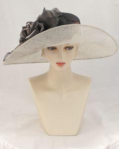 0990SBSP Santa Barbara, sisal crown/sinamay brim, black/pearl grey
