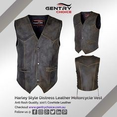 ✔️Made of top grade quality cowhide leather in distressed tonne ✔️Anti rash polyester lining with internal mobile pocket ✔️Adjustable side lacing gives you option to adjust waist side ✔️Four good size external pockets including two regular waistcoat pockets and two side zipper pockets - original YKK zippers used for long life  ✔️Antique style 4 round metal press closure snap fasteners ✔️Classic and antique style men's bikers vest, perfect to wear for motorcycle riding or casual suiting use Distressed Leather, Cowhide Leather, Suede Leather, Motorcycle Leather Vest, Motorcycle Outfit, Mobile Pocket, Biker Wear, Safety Clothing, Gear S