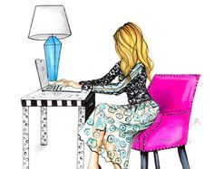 The Pink Chair Fashion Illustration Print Office Decor Kate Fashion, Fashion Art, Fashion Design, Art And Illustration, Illustrations, Jamel, Fashion Sketches, Girl Boss, Art Girl