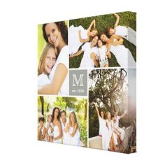 Modern Square Family Monogram Photo Collage Custom Canvas by fatfatin