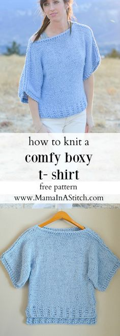 "Easy Knit Boxy T Shirt ""Jeans"" Pattern via @MamaInAStitch This beginner knitting pattern is so easy and the top is both comfortable and flattering! A free pattern with multiple sizes available. #crafts #diy"