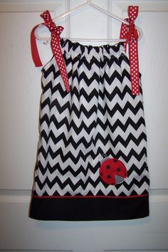 Black Chevron/Ladybug Pillowcase Dress