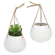 Set of 2 Modern White Ceramic Round Hanging Succulent Planter Pots with Twisted Twine Rope Hanging Succulents, Hanging Planters, Planter Pots, Special Deals, Twine, White Ceramics, Outdoor Gardens, Modern, Garden Box Raised