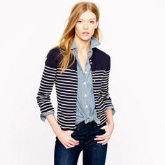 Jcrew Jackie Cardigan In Stripe Cotton blended with stretch in a super fine 14 gauge knit. Crisp stripe and chic little anchor buttons for a nautical spin. Slim fit, bracelet sleeves, machine wash, import. Material: cotton, lycra, spandex. Mint condition. All reasonable offers are welcome! Please make all offers through the offer button J. Crew Sweaters Cardigans