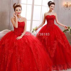 Sheer alluring 2015 off-the-shoulder Red Lace up A-Line Wedding Dresses Bridal Dress romantic Wedding Dress vestidos de noiva$178.6