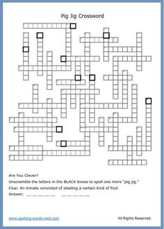 Use this super-fun crossword puzzle free of charge, in your home or classroom! It's full of rhyming word pairs. Pig Jig, anyone? Word Brain Teasers, Brain Teaser Puzzles, Rhyming Pairs, Rhyming Words, Spelling Bee Words, Printable Crossword Puzzles, Fun Brain, Challenging Puzzles, Thinking Skills