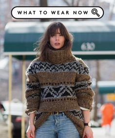 No Coat Styling Tip How To Stay Warm | If you hate coats, but still want to stay warm in the winter, what are you options? This styling tip might be your cold-weather savior. #refinery29 http://www.refinery29.com/oversized-turtleneck-sweater