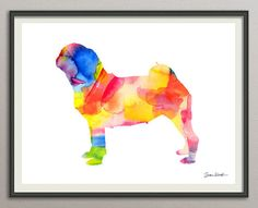 pug dog art print watercolor print poster by MoondustGalleryArt