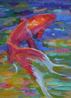 SOMETHING FISHY IMPRESSIONISTIC OIL PAINTING BY ELIZABETH BLAYLOCK, painting by artist Elizabeth Blaylock