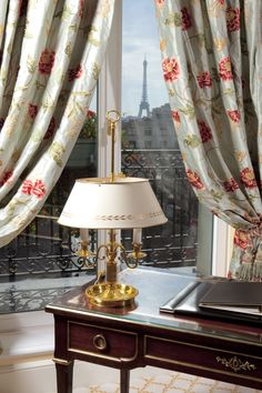 Wake up to views of the Eiffel Tower from your hotel room at Le Bristol Paris..