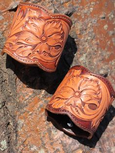 Grande Tooled Cuff by Brit West; leather, floral, bracelet
