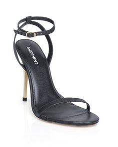 The Brianna - Simple with a twist, this slim strappy style is complete with a shiny gold heel.
