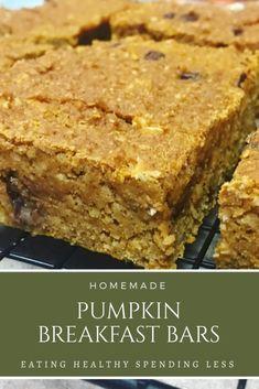 Breakfast Bars Healthy, Fall Breakfast, Healthy Snacks, Homemade Breakfast Bars, Healthy Recipes, Oatmeal Breakfast Bars, Oatmeal Bars, Healthier Desserts, Morning Breakfast