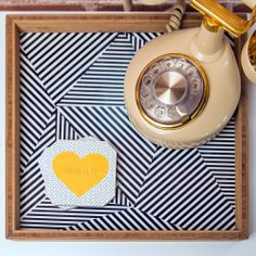 how cute is this jazzy black and white tray?!