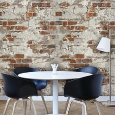 Wall wallpaper Orange Red Brown Brick Rustikale Wandtapete - wallcoveringsmart Inexpensive b Stone Wallpaper, Vinyl Wallpaper, Wallpaper Roll, Rustic Wallpaper, Painted Brick Walls, Brown Brick, Dining Chairs, Dining Table, Wallpaper Stores