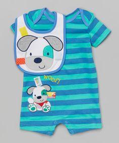 Loving this Taggies Teal & Blue Stripe Dog Romper & Bib - Infant on #zulily! #zulilyfinds