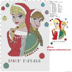 Schema punto croce Elsa e Anna Buon Natale