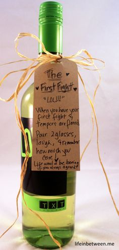 wine bridal shower gift first fight bottle