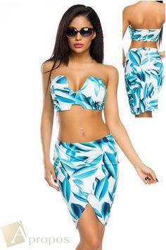 Minikleid Sommerkleid Kleid PushUp BaumwolleTop Rock 2-Teiler Blumen Apropos