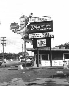 """Pearsons Drive In. My sisters worked there. Home of the """"Big Burger"""""""