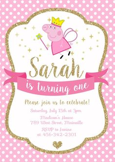 Peppa Pig Princess Birthday Party Invitation - Digital or Printed