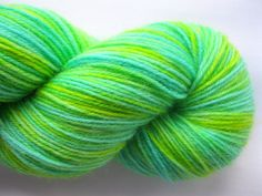 Lemon Mint - Hand Dyed Sock Yarn in bright green, chartreuse, yellow - fingering weight, superwash wool & polyamide - 460 yards