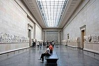An interior view of the room housing the Elgin Marbles at the British Museum