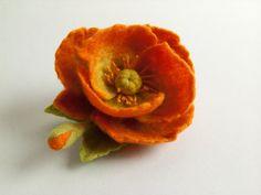 Felt Flower Brooch.  Diameter: 9 cm = 3.5 inch