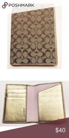 Coach • NWOT PassPort Wallet Coach • NWOT PassPort Wallet. Cute gold and pink detail on the inside.  . . . . . Suggested Used! 💁🏼 Non-Smoking Household! 🌿 A passionate Posher! 👗 Coach Bags Wallets