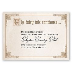 Storybook Fairy Tale - Reception Card. 72 for $64.79